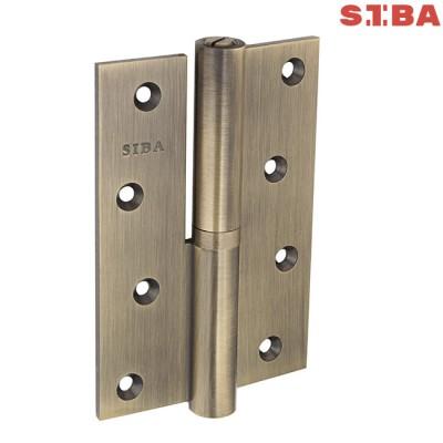 Петли латунные усиленные Siba 1BB 120*80*4 мм AB бронза