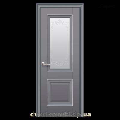 Дверное полотно Имидж со стеклом, молдингом и рисунком, цвет антрацит