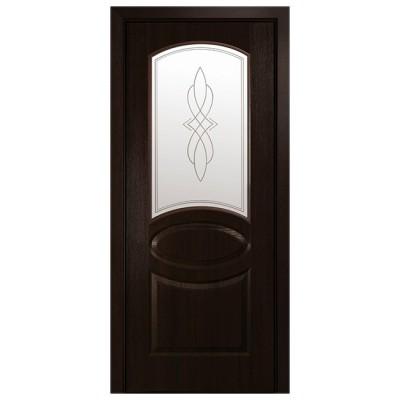 Дверное полотно Фортис Овал каштан со стеклом R1