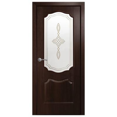 Дверное полотно Фортис V (вензель) каштан со стеклом