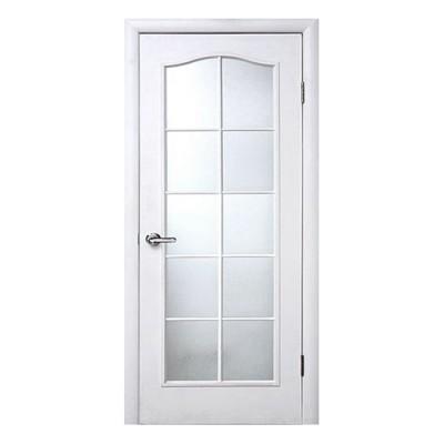 Дверь с витражным секлом МДФ белая