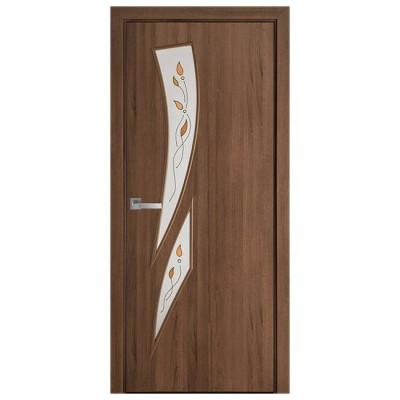 Дверное полотно Камея ПВХ Делюкс Золотая ольха стекло Р1