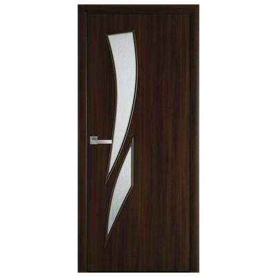 Дверное полотно Камея Экошпон Орех 3D стекло Р3 ТМ Новый стиль