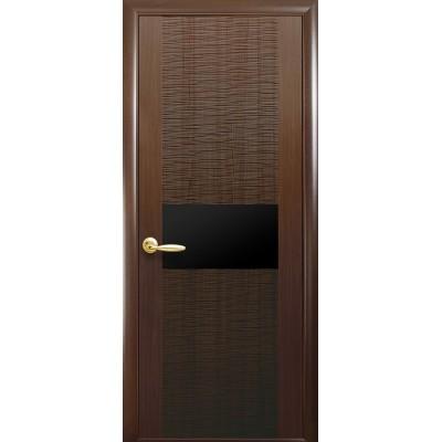 Дверное полотно Аста BLK каштан (черное стекло)