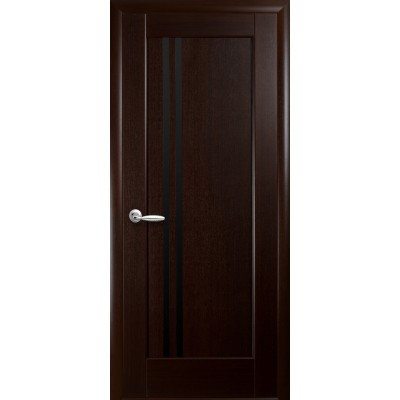 Дверное полотно Della BLK каштан черное стекло