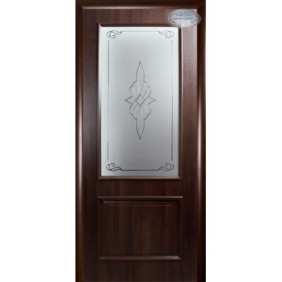 Дверное полотно Вилла  со стеклом каштан