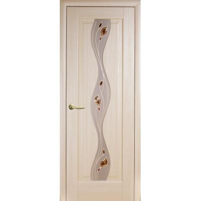 Дверное полотно Волна ясень с рисунком Р1