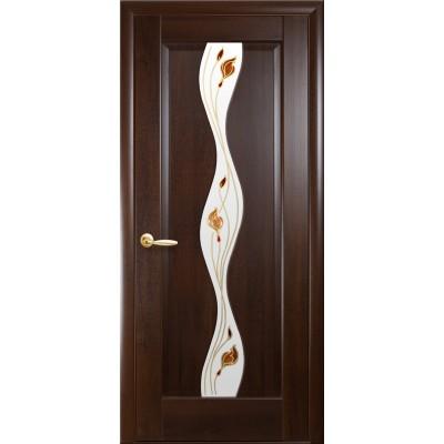 Дверное полотно ВОЛНА каштан стекло сатин с рисунком Р1
