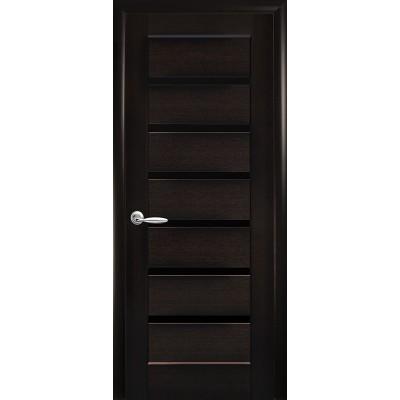Дверное полотно Линнея BLK венге с черным стеклом