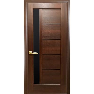 Дверное полотно Грета BLK каштан с черным стеклом