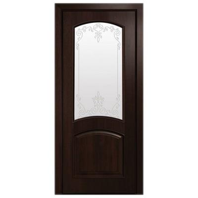 Дверное полотно Антре ПВХ Делюкс Каштан со стеклом Р1