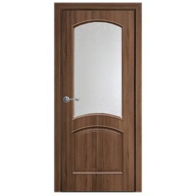 Дверное полотно Антре ПВХ Делюкс Золотая ольха со стеклом Р1