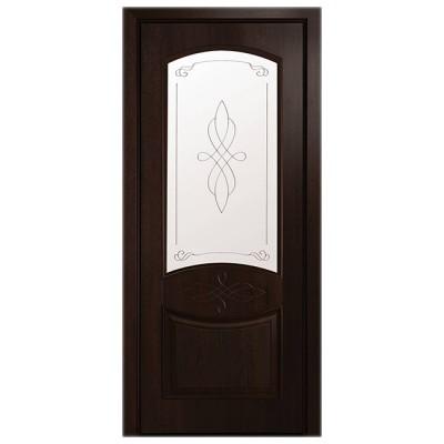Дверное полотно Донна ПВХ Делюкс Каштан стекло Р1