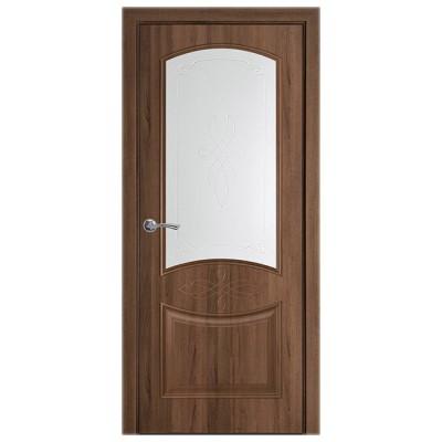 Дверное полотно Донна ПВХ Делюкс Золотая ольха стекло Р1