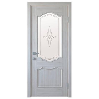 Дверное полотно Рока ПВХ Делюкс Ясень new стекло Р1