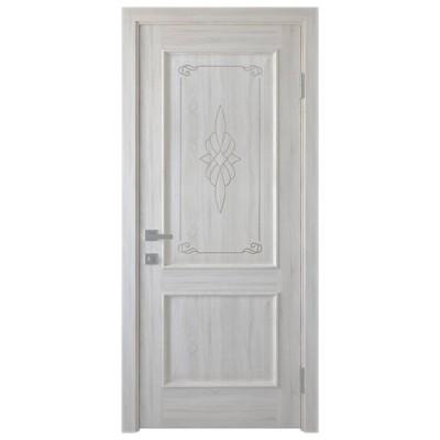 Дверное полотно Вилла ПВХ Делюкс ясень new глухое с гравировкой