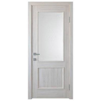 Дверное полотно Вилла ПВХ Делюкс ясень new со стеклом R1