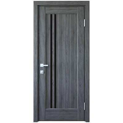 Дверное полотно Делла grey черное стекло