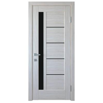 Дверное полотно Грета BLK ясень NEW с черным стеклом