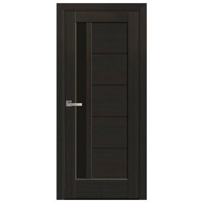 Дверное полотно Грета BLK венге new с черным стеклом