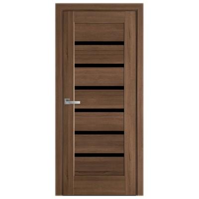 Дверное полотно Линнея BLK золотая ольха с черным стеклом