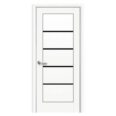Дверное полотно Мира BLK белый матовый с черным стеклом