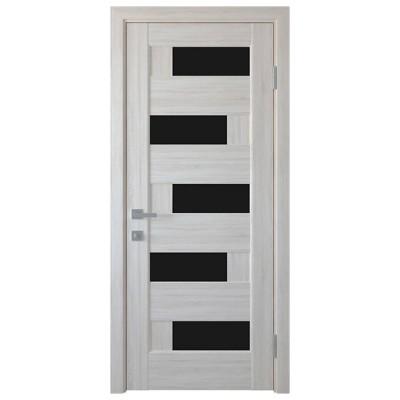 Дверное полотно Пиана BLK ясень NEW с черным стеклом