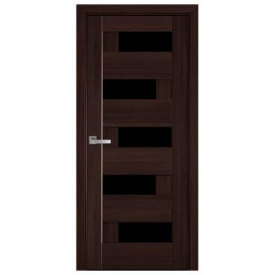 Дверное полотно Пиана BLK каштан черное стекло