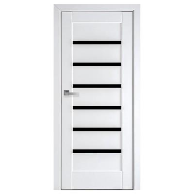 Дверное полотно Линнея BLK белый матовый с черным стеклом