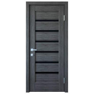 Дверное полотно Линнея BLK Grey с черным стеклом