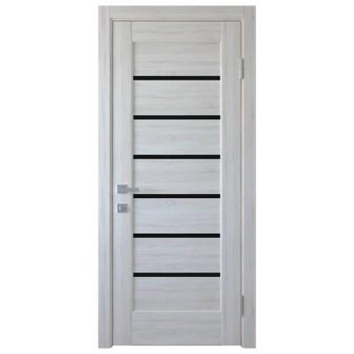 Дверное полотно Линнея BLK Ясень New с черным стеклом